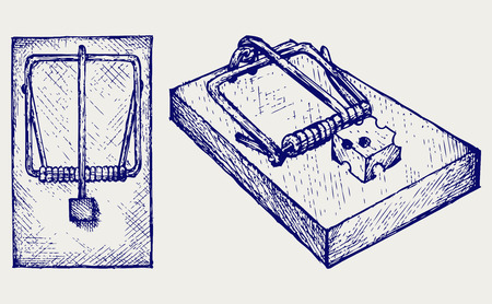 mousetrap: Mousetrap with cheese  Doodle style Illustration