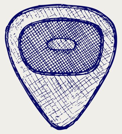 plectrum: Guitar plectrum  Doodle style Illustration