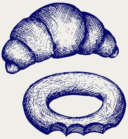 bagel: Verse croissant en bagel Doodle stijl