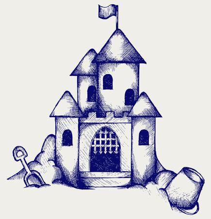 castle sand: Castillo de la arena de los ni�os cubo y pala