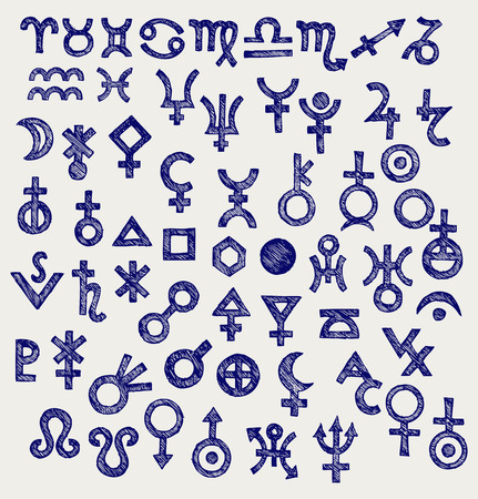 Astrological symbols  Doodle style Vector