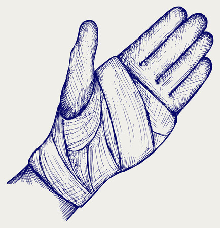 strapping: Hand tied elastic bandage  Doodle style