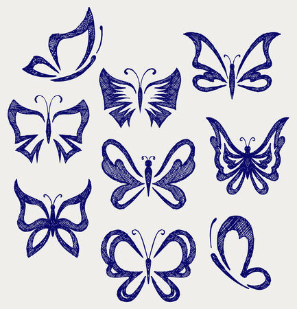 Various butterflies  Doodle style Vector