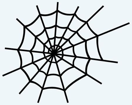 cobweb: Spider net  Image isolated on blue background Illustration