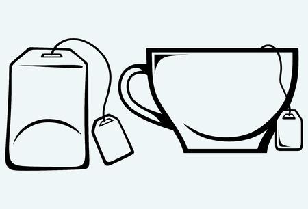 Ceramic mug with teabag label  Image isolated on blue background