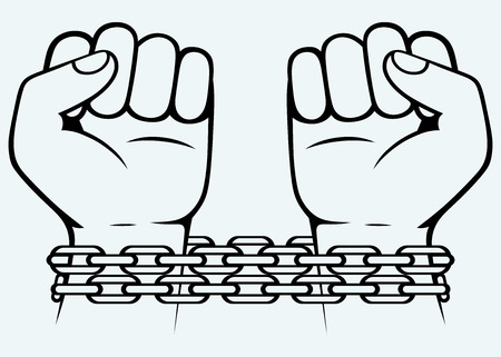 chained: Bound human hand  Image isolated on blue background Illustration