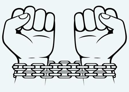 incarceration: Bound human hand  Image isolated on blue background Illustration