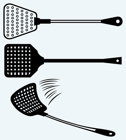 exterminate: Fly swatter  Image isolated on blue background Illustration