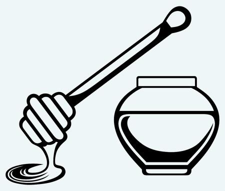 honey pot: Wooden honey dipper and honey pot