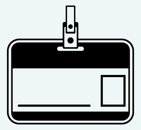 name tag: Plastic Name Tag  Image isolated on blue background Illustration
