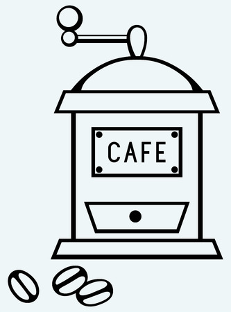 coffee grinder: Coffee mill  Image isolated on blue background Illustration