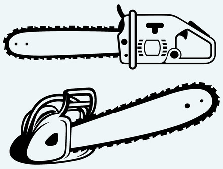Chainsaw  Image isolated on blue background Vector