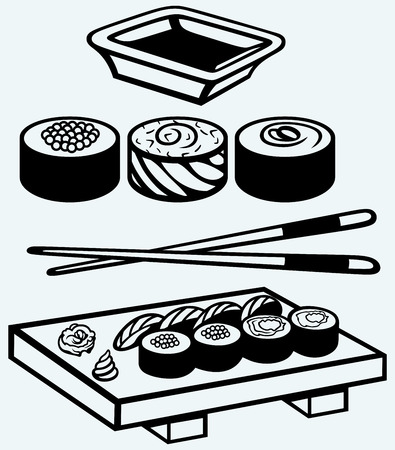 chopstick: Sushi on a wooden board with chopsticks