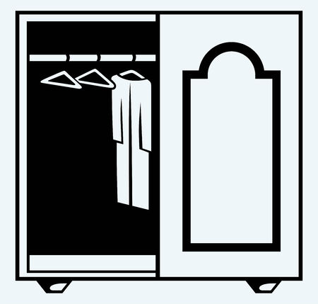 Wardrobe with clothes  Image isolated on blue background Vector