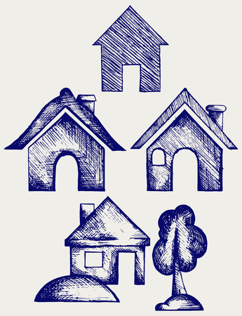 house roof: Houses icons set. Doodle style Illustration