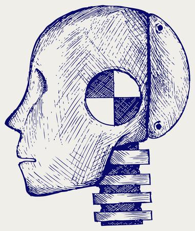 dummy: Crash-test dummy. Doodle style Illustration