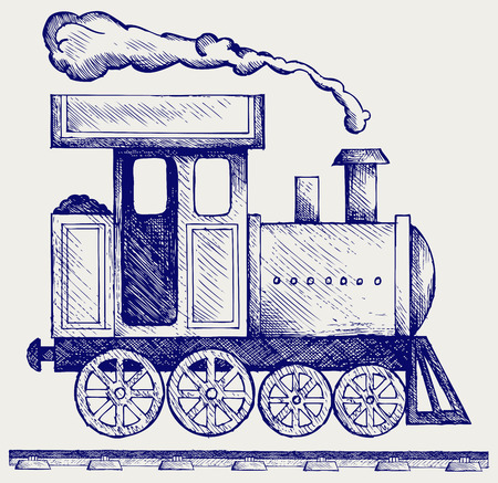 Wild West steam locomotive. Toy train. Doodle style