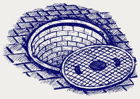 manhole: Opened street manhole. Doodle style