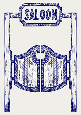 saloon: Old western swinging saloon doors. Doodle style