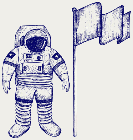 linework: Astronaut and flag. Doodle style