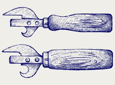 ouvre boite: Ouvre-bo�te avec manche en bois. Style Doodle