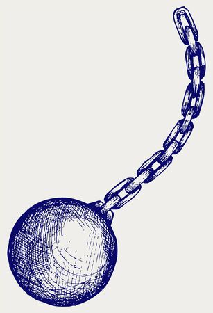 ball and chain: Wrecking ball. Doodle style Illustration