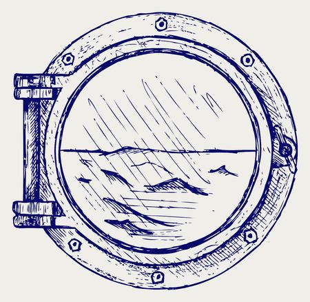 submarino: Portilla metálica. Doodle estilo Vectores