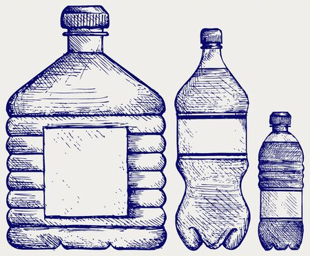 Set of water bottles. Doodle style