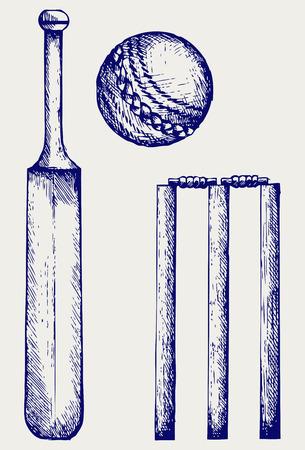 at bat: Equipo Conjunto para el cricket. Bate de cricket y la pelota. Doodle estilo