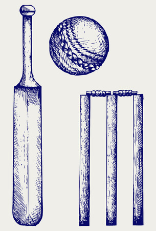 linework: Set equipment for cricket. Cricket bat and ball. Doodle style