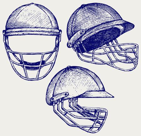 cricket helmet: Cricket helmet. Doodle style