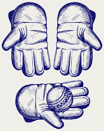 linework: Cricket ball in a wicket keeping glove. Doodle style