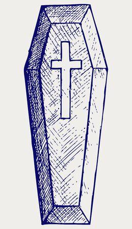 deceased: Black coffin. Doodle style