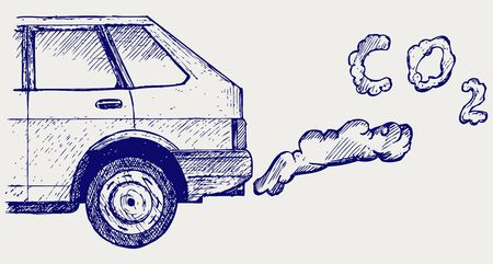 Close up of a cars fumes emissions in the traffic jam. Doodle style Vector