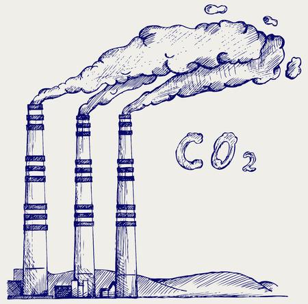석탄 발전소에서 배출. 이산화탄소 구름. 낙서 스타일