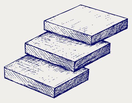 Drei Schritte Treppen. Doodle Stil