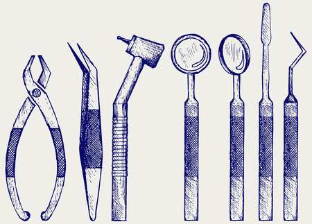 Set of medical equipment tools for teeth dental care. Doodle style Vector