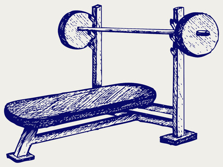 weighted: Weight bench for chest flat. Doodle style