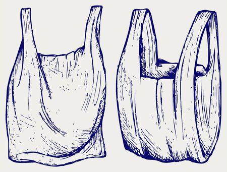 Divers sacs en plastique. style Doodle