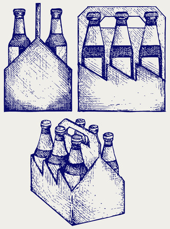 drink bottle: Beer six pack in three boxes. Doodle style