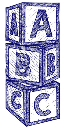wood blocks: Alphabet cubes with A,B,C letters. Doodle style