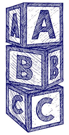 Alphabet cubes with A,B,C letters. Doodle style