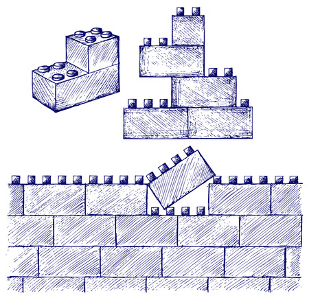 building blocks: Plastic building. Doodle style