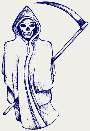 inked: Hand inked grim reaper. Doodle style
