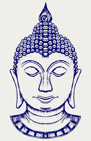 Buddha portrait. Doodle style Vector