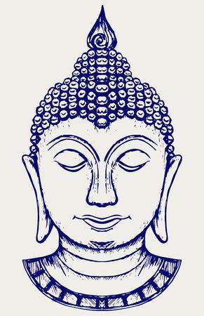 cabeza de buda: Retrato de Buda. Doodle estilo