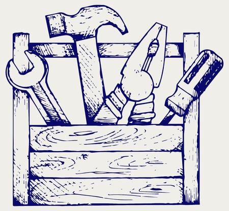Werkzeugkiste mit Werkzeug. Doodle Stil Illustration