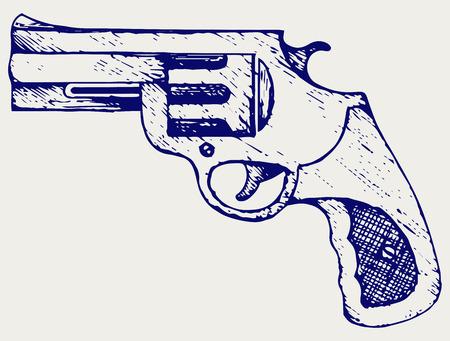policia caricatura: Pistola vieja. Doodle estilo
