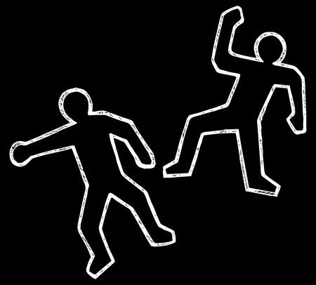 policia caricatura: Ilustraci�n de escena del crimen. Doodle estilo