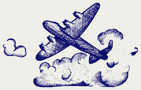 Lancaster bombers. Doodle style Vector
